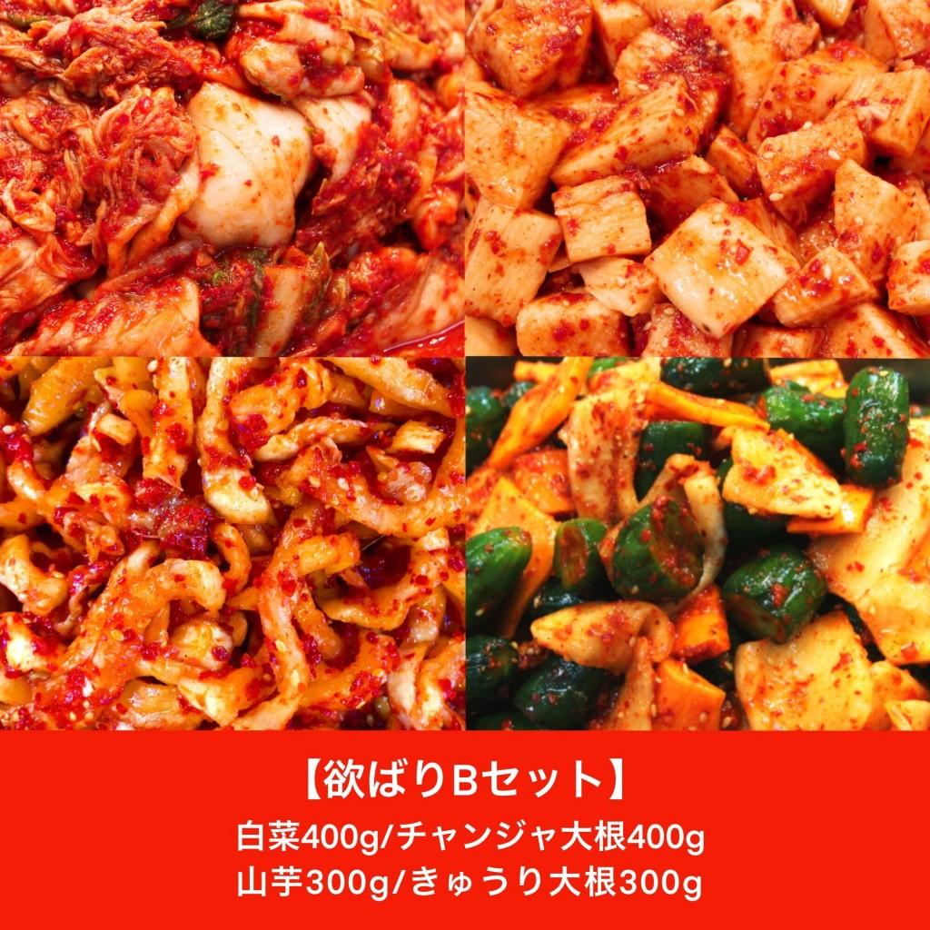 欲ばりBセット(白菜・山芋・チャンジャ大根・きゅうり大根)